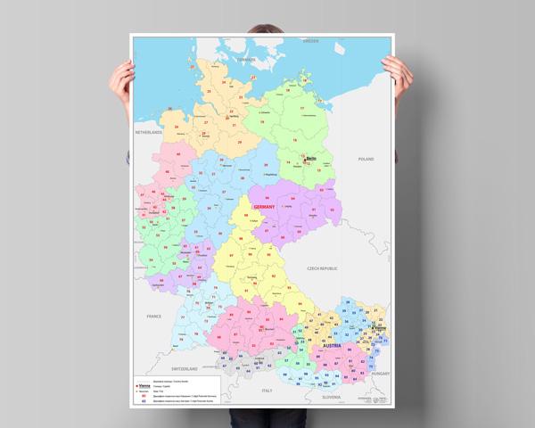 Стенна карта с пощенските кодове на Германия и Австрия